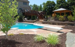 pool surrounded by stone tile