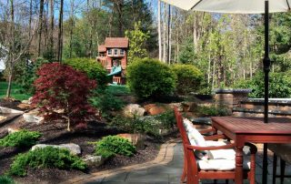 backyard with table and play house