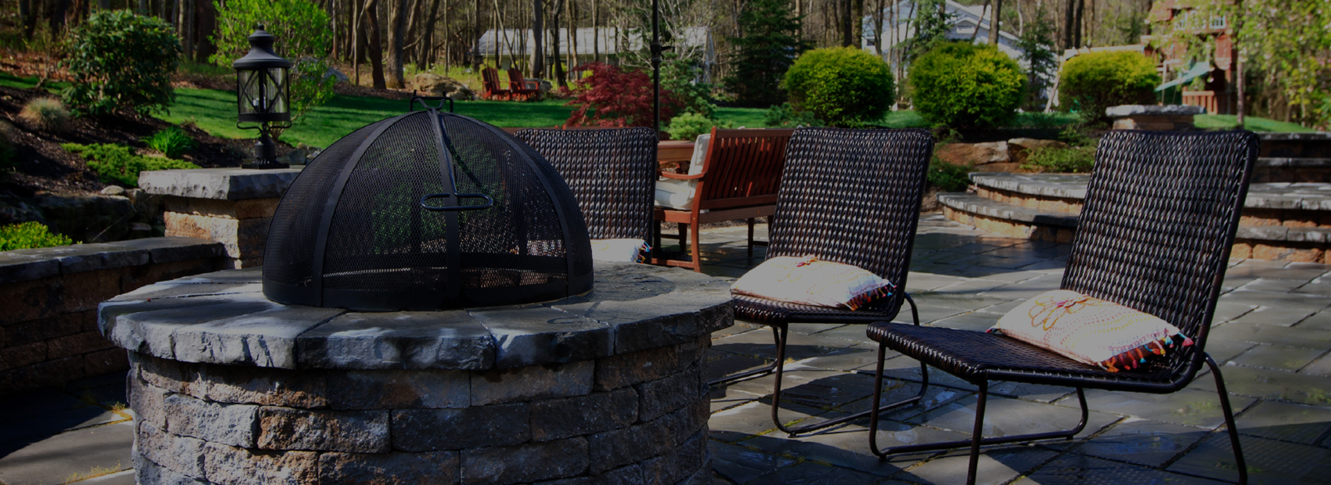 firepit with wicker furniture